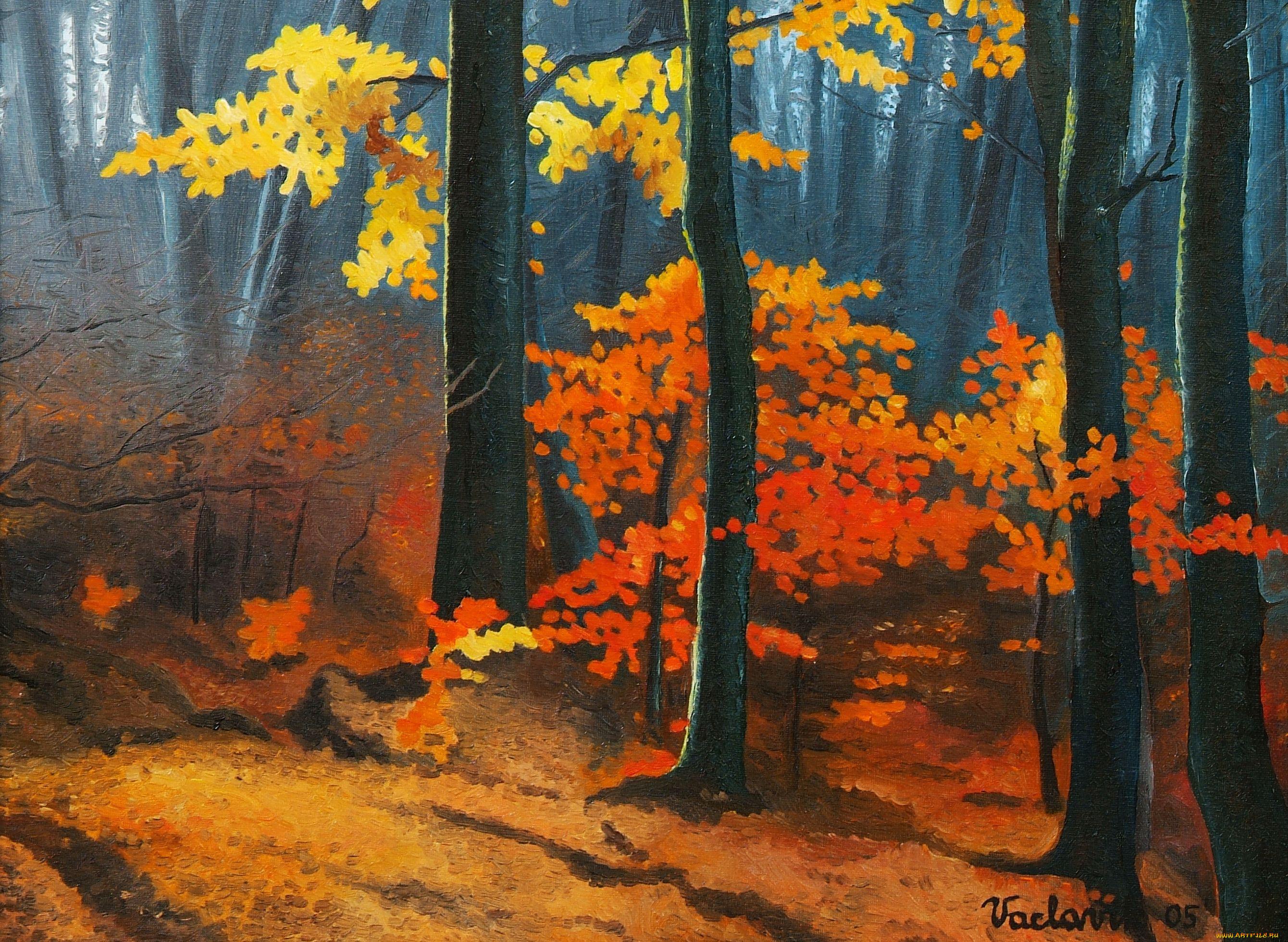 Рисованная картинка осень в лесу